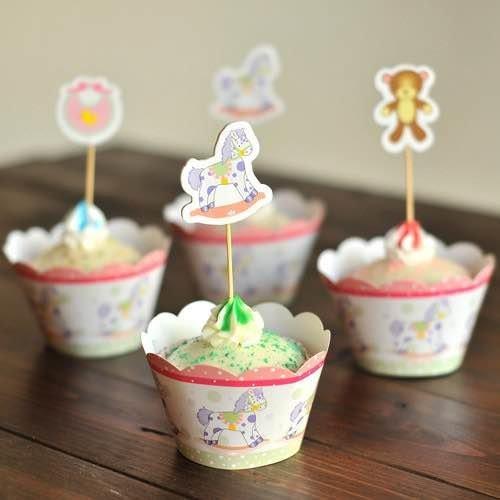 =優生活=烘焙包裝紙杯蛋糕 蛋糕裝飾 插牌圍邊+插牌裝飾 派對用品 兒童生日 彌月蛋糕 收綖蛋糕【滿月 熊熊木馬圍兜兜】
