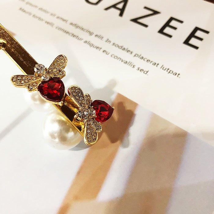 耳環 個性 愛心 鑲鑽 珍珠 甜美 氣質 雙面 耳釘 耳環【DD1812021】 BOBI  03 / 07 5