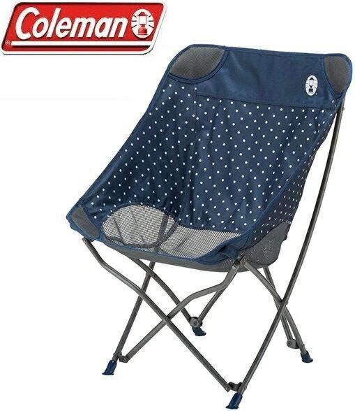 Coleman 圓點療癒椅/折椅/露營折疊椅/休閒椅 CM-31283M000 海軍圓點藍/台北山水