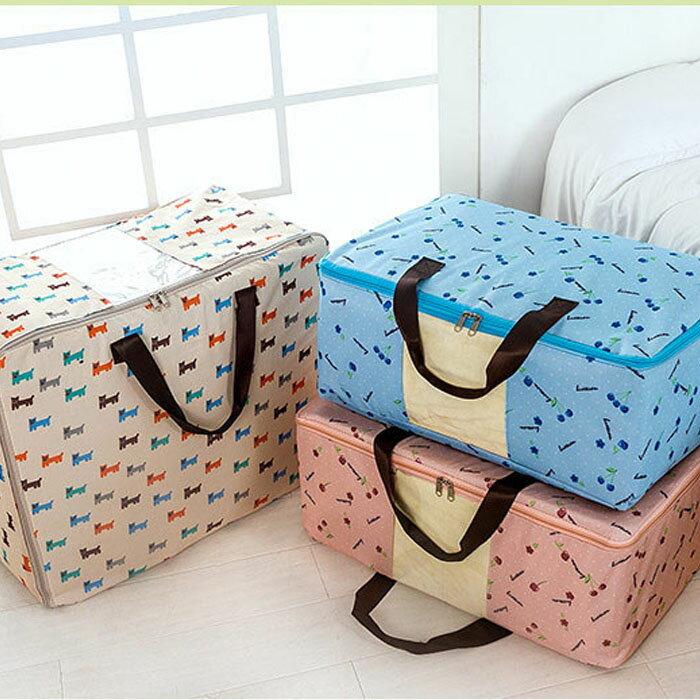 【酷創意】韓流新款 600D印花加厚牛津布衣服棉被袋收納袋 手提視窗衣物被收納袋-- 大(E52)