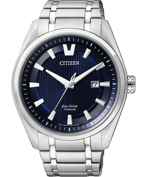 CITIZEN星辰AW1241-54L經典超級鈦光動能腕錶/藍面43mm