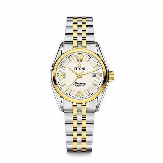 TITONI瑞士梅花錶23909 SY-342空中霸王雙色經典機械腕錶/白條面27mm
