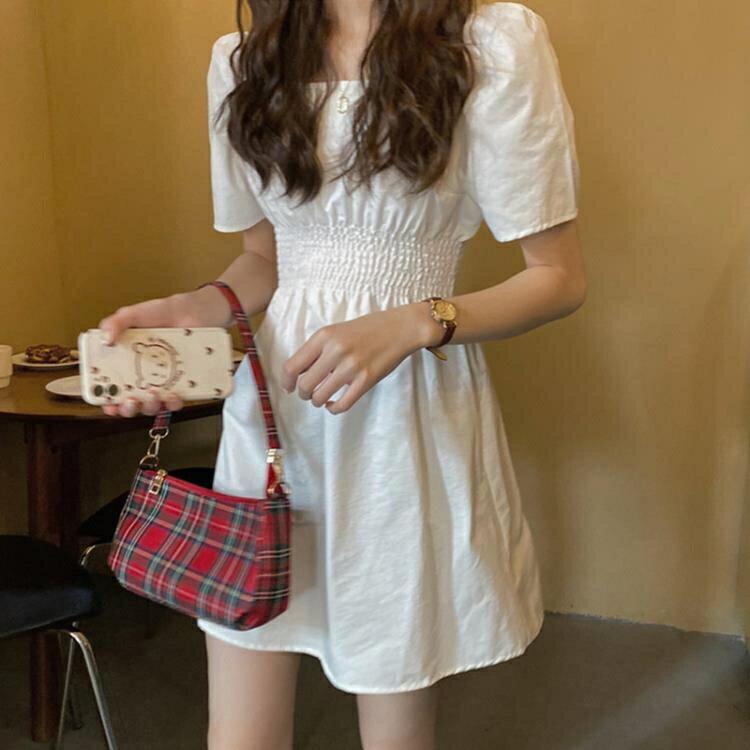 鉅惠夯貨白色洋裝 法式復古白色方領泡泡袖裙子女2020夏裝新款宮廷風氣質女神洋裝