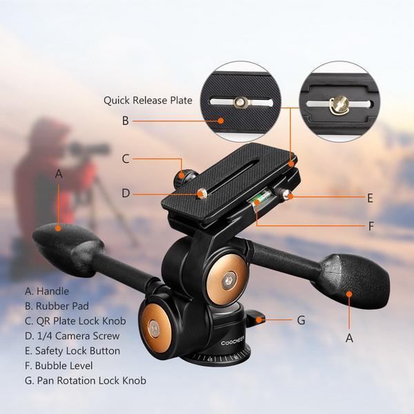 Double Handle Camera Tripod Head 360 Degree Hydraulic Damping Ball Head 4
