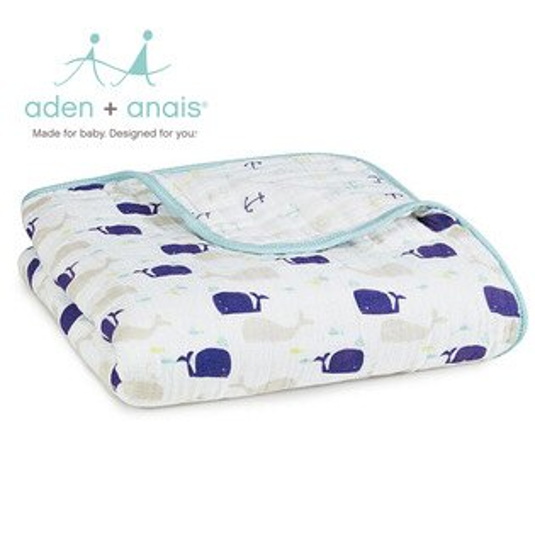A+A被毯被子寶寶毯蓋毯Aden+Anais美國經典純棉被毯120*120cm-蔚藍海洋