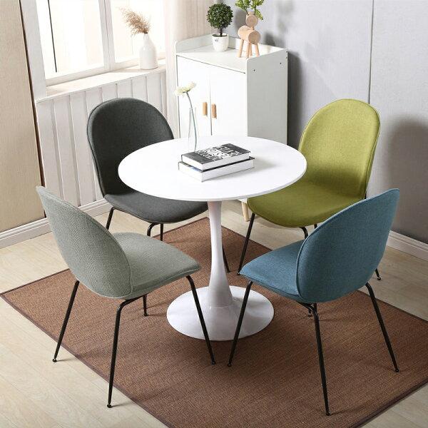 !新生活家具!《白莎》餐椅電腦椅休閒椅洽談椅書桌椅布椅棉麻布設計師款時尚高雅北歐4色