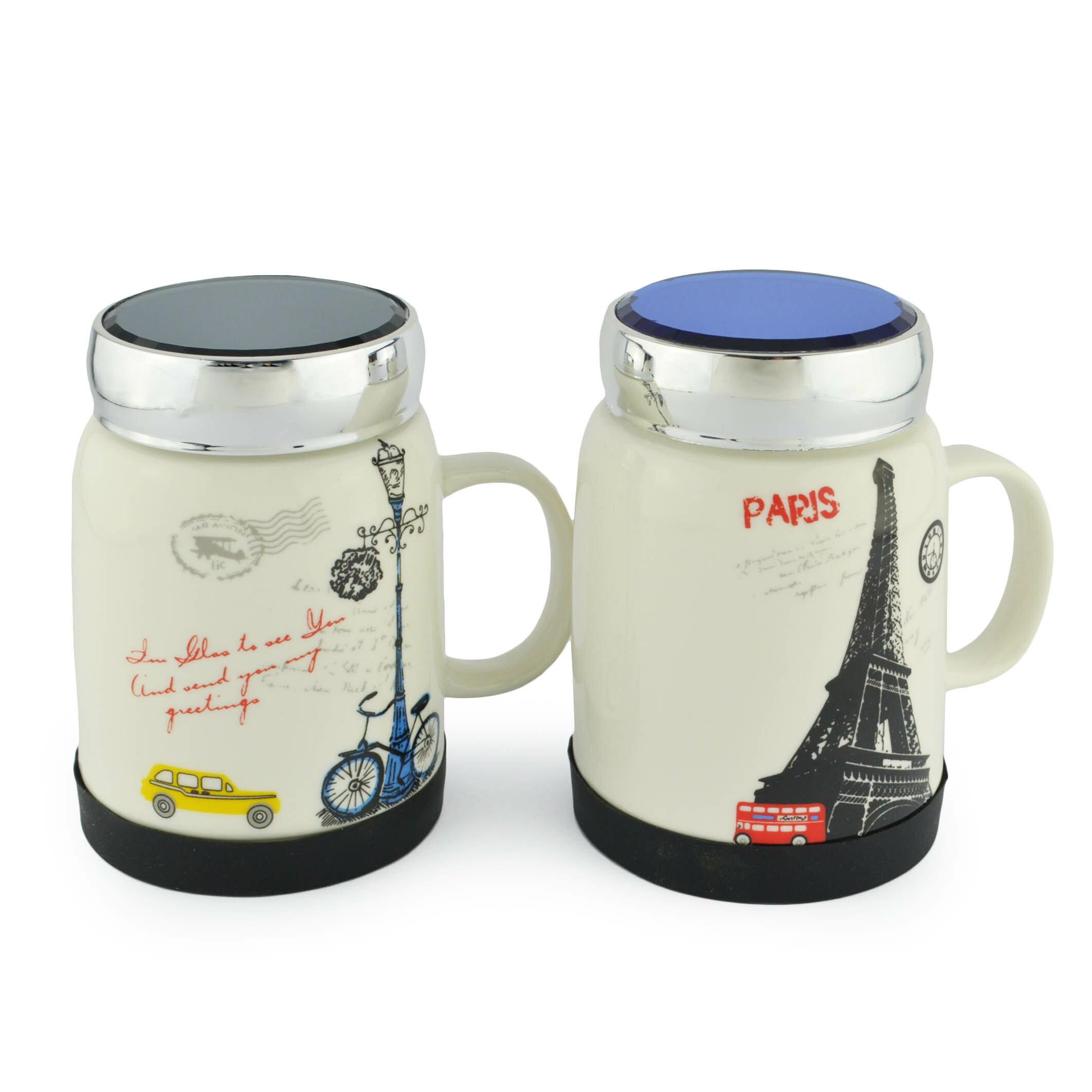 英倫風陶瓷馬克杯(附蓋) 500ml/禮品/交換禮物/生日禮物/辦公室 隨機出