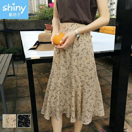 【V2381】shiny藍格子-唯美調性.碎花高腰中長款半身裙