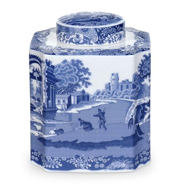 英國SPODE義大利藍14*11.5cm茶葉瓷罐(附原裝彩盒)