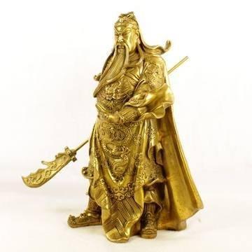 開光關公武財神爺銅像擺件家居旺運擺件開業禮品26cm