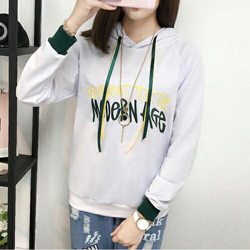 連帽繡花撞色衛衣T恤(2色M~XL) 【OREAD】 1