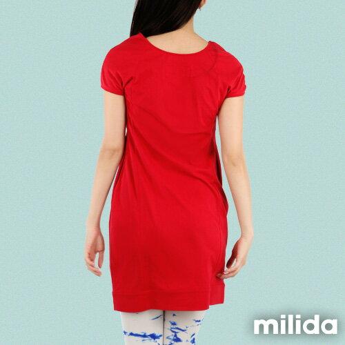 【Milida,全店七折免運】-早春商品-素色款-簡約休閒口袋洋裝 3