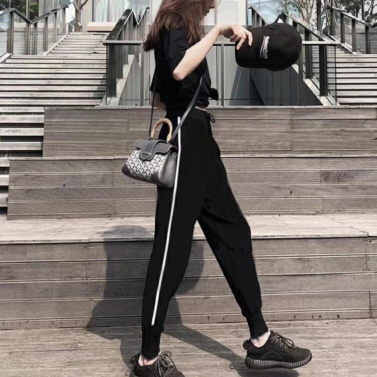 休閒運動褲女褲春秋季2020新款韓版百搭九分寬鬆直筒黑束腳長褲子