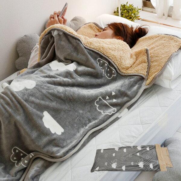 絲薇諾精品寢飾館:睡袋朵朵泡芙法蘭絨羊羔絨睡袋毯(單人款)-絲薇諾