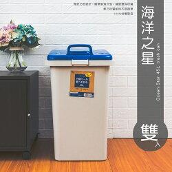 【dayneeds】海洋之星-45L大容量收納筒(雙入)/垃圾桶/置物桶/分類桶