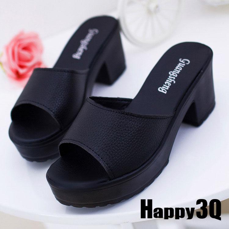 簡約時尚粗跟防水台涼鞋拖鞋-黑/白35-40【AAA0104】