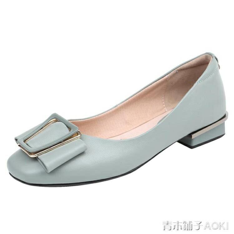 軟皮軟底真皮單鞋女平底淺口小跟新款夏季女鞋韓版百搭夏皮鞋