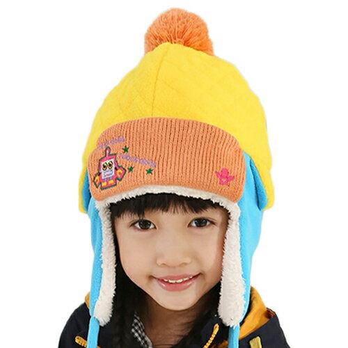 Kofairy◆秋冬保暖時尚可愛俏皮機器人毛球帶釦兒童毛絨雷鋒帽-黃色