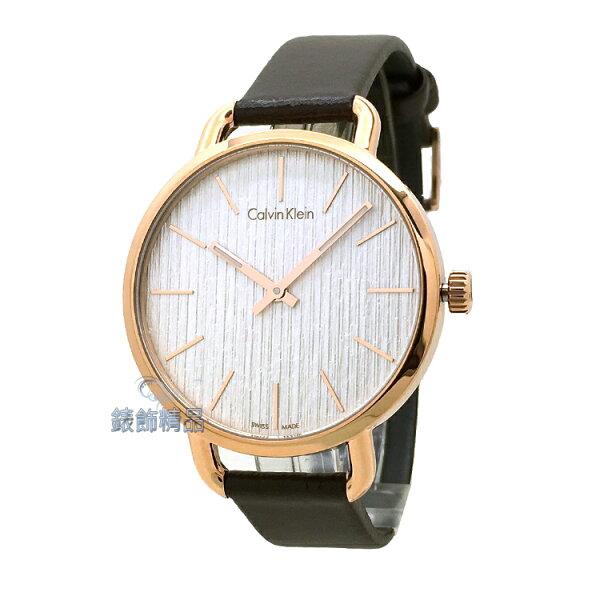 【錶飾精品】CK手錶EVEN系列優雅時尚岩紋設計IP玫瑰金框銀白面咖啡皮帶女錶K7B236G6全新原廠正品