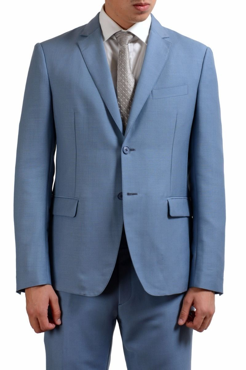 ONE MODA: Salvatore Ferragamo Men\'s Light Blue Wool Two Button Suit ...
