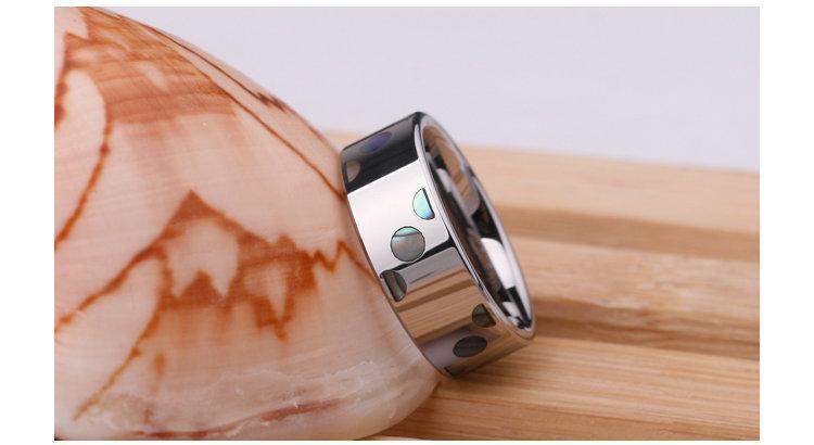 白鎢金戒指永不磨損褪色有男女士情侶對戒指可刻字QL078