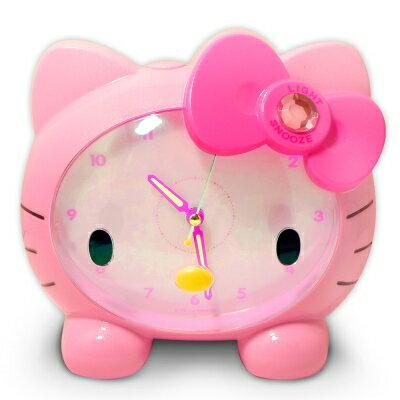 【真愛日本】14053000001 臉蛋造型LED夜燈鬧鐘-粉 三麗鷗 Hello Kitty 凱蒂貓 擺鐘