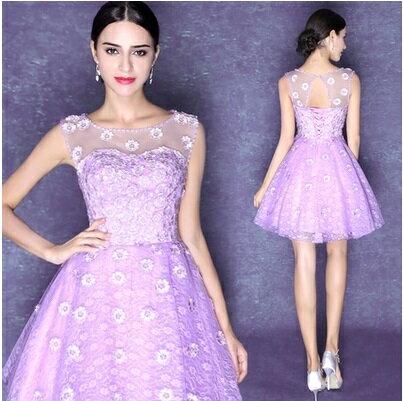 天使嫁衣~AE2068~紫色浪漫花朵公主澎澎短禮服˙ 訂製款