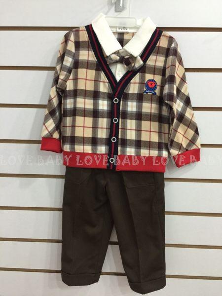 ☆╮寶貝丹童裝╭☆ 紳士 格子 領結 造型 透氣 舒適 男童 小童 上衣+褲子 長袖 套裝 新款 現貨 ☆