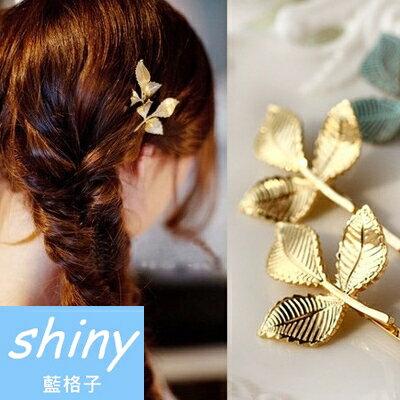 【DJB1414】shiny藍格子-時尚金綠色樹葉髮夾