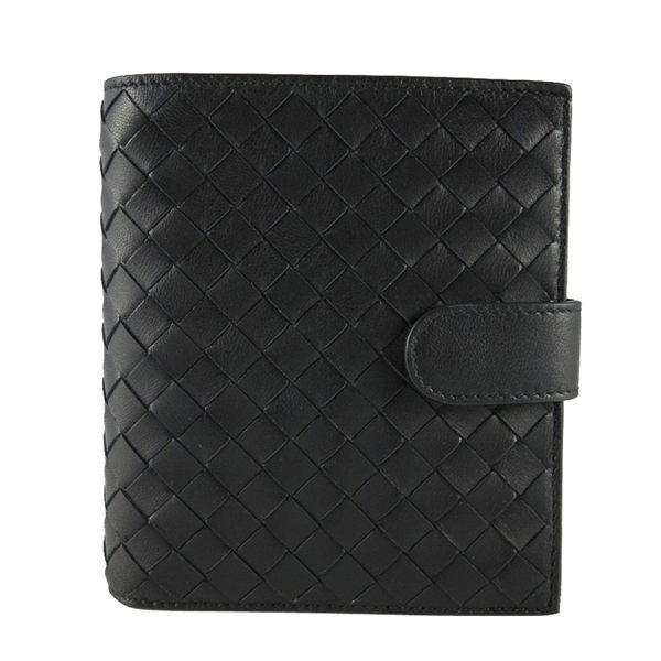 【BOTTEGA VENETA】小羊皮編織 零錢袋 短夾 (黑色) 114073 V001N 1000