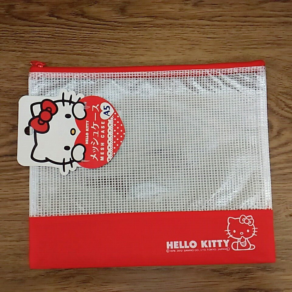 【真愛日本】17122000017 網格拉鍊A5收納袋-KT紅桃兩款 三麗鷗家族 kitty 文件收納袋 學生文具袋