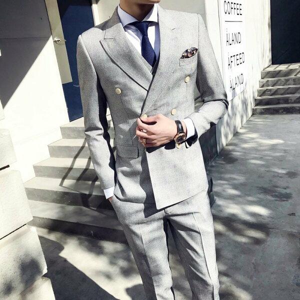 FINDSENSEH1男士高級淺灰色雙排扣千鳥格套裝主持人西服三件套