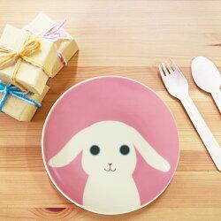 可愛動物跟妳Say Hi系列(小兔)-6.5吋骨瓷盤 /粉紅/兔子/餐盤/可微波/生日禮物
