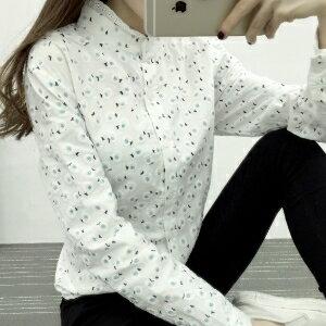 美麗大街【IR2206】休閒可愛小花蕾絲領長袖襯衫上衣
