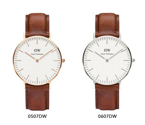 瑞典正品代購 Daniel Wellington 0607DW 銀 玫瑰金 真皮 錶帶 男女錶 手錶腕錶 36MM 2
