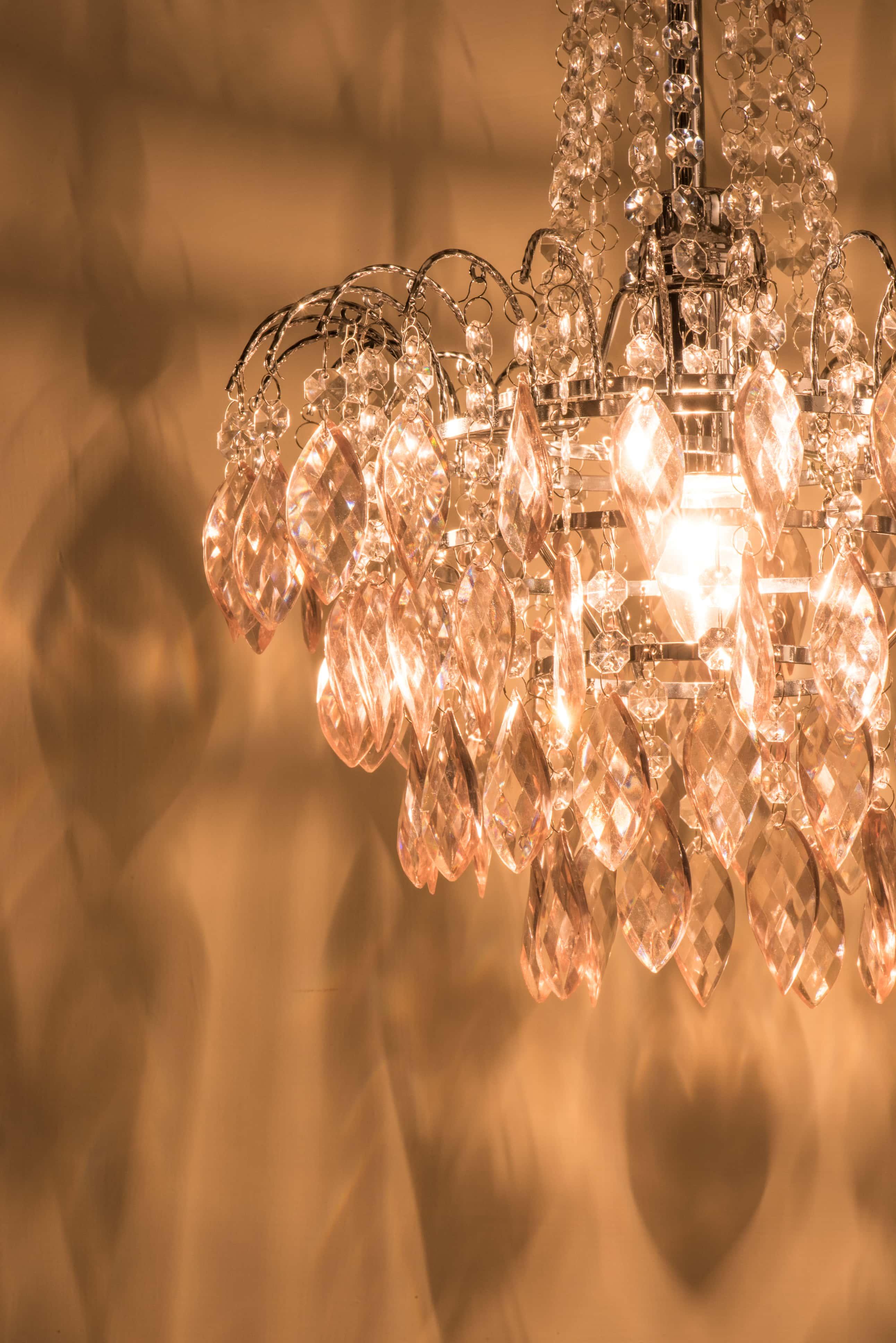 紅香檳色八角壓克力珠鍍鉻吊燈-BNL00060 3