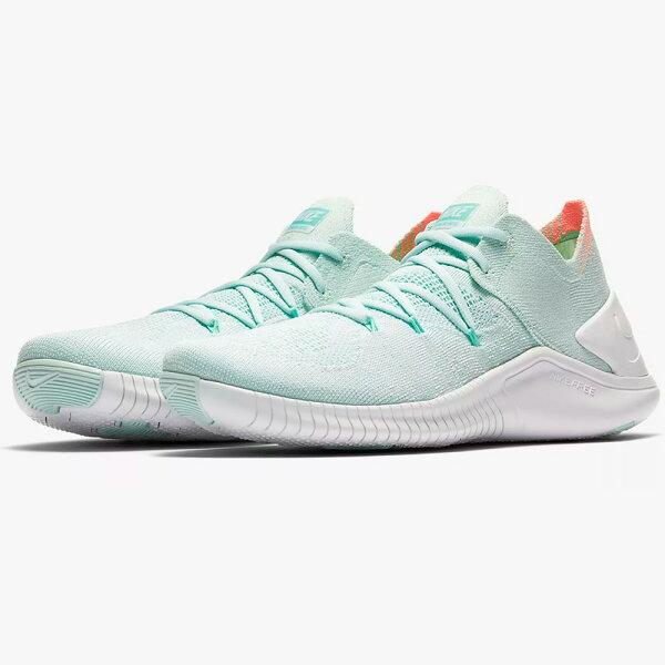 NikeFreeTRFlyknit3女鞋慢跑訓練健身編織襪套粉綠【運動世界】942887-301