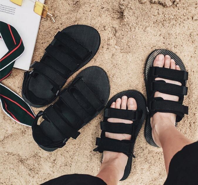 FINDSENSE MD 韓國 時尚休閒 潮 男 透氣 魔術貼涼鞋 男女情侶 涼鞋 拖鞋 海灘鞋