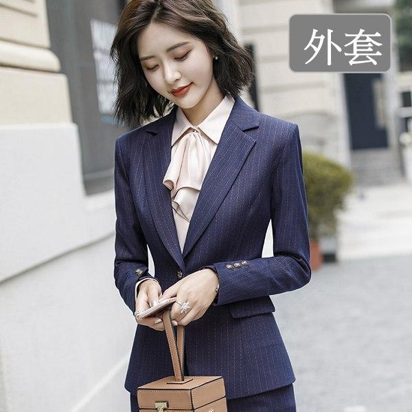 灰姑娘[8X094-PF]襯衫領英倫條紋風格單釦OL長袖西裝外套~