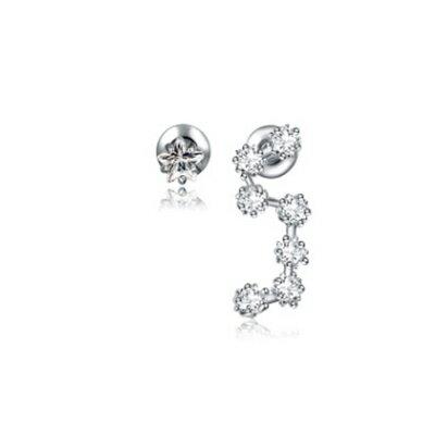 純銀耳環鍍白金鑲鑽耳飾~ 精緻簡約不對稱生日七夕情人節 女飾品73cr393~ ~~米蘭