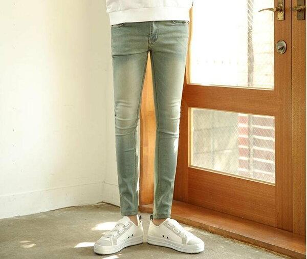 FINDSENSEZ1韓國時尚潮男修身簡約水洗個性複古藍鉛筆褲小腳褲九分褲牛仔褲