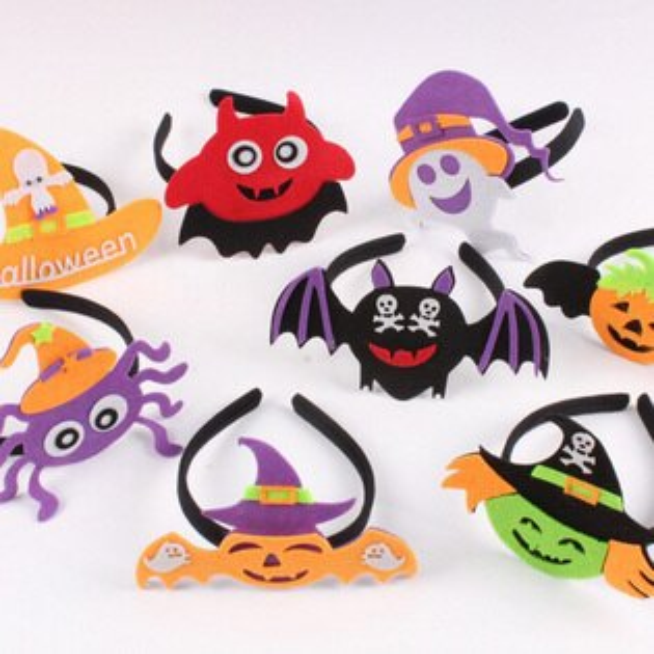 糖衣子輕鬆購【DZ0364】萬聖節兒童派對表演化裝舞會髮箍南瓜蝙蝠巫婆骷顱頭頭箍