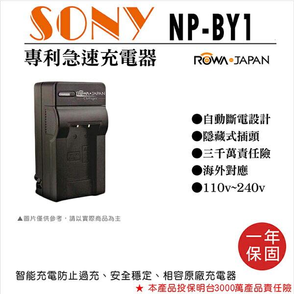 攝彩@樂華SonyNP-BY1快速充電器NPBY1副廠壁充式座充1年保固索尼HDR-AZ1自動斷電