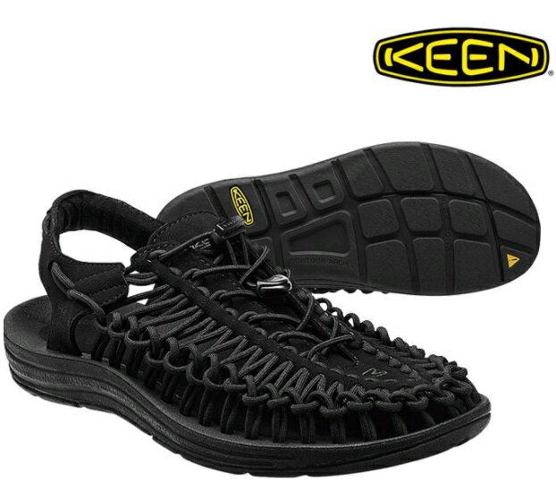 【【蘋果戶外】】KEEN 1014097 美國 Uneek 男款拉繩溯溪編織涼鞋 黑 水陸兩用鞋兩棲鞋 適自行車健行