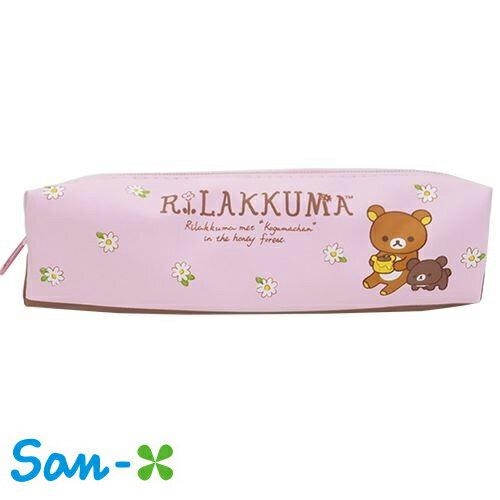 粉紅款~  ~San~X 拉拉熊 皮質 筆袋 鉛筆盒 中筆袋 防潑水 懶懶熊 Rilakk