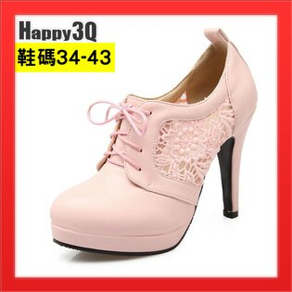 短靴綁帶淺口大尺碼女鞋靴中跟粗跟女靴加大女鞋子43-白粉黑34-43【AAA5020】