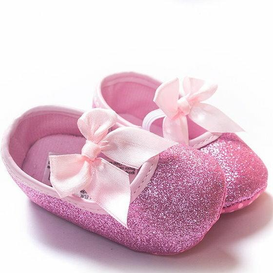 【經典公主鞋】女寶寶學步鞋軟底嬰兒花童鞋亮粉款-粉色