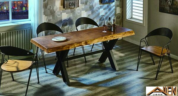 亞倫傢俱*鈦森原木6尺餐桌