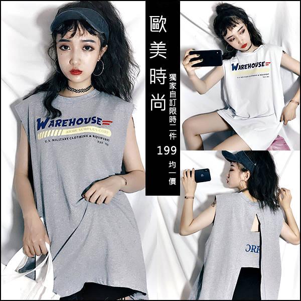 ☆克妹☆現貨+預購【AT46166】WAREH獨家自訂字母圖印背後開叉摟空T恤洋裝