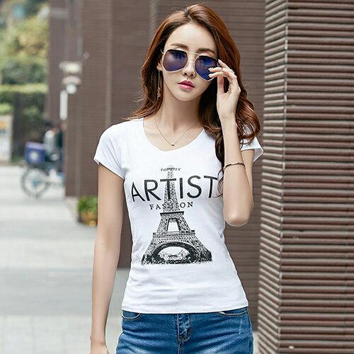 鐵塔圖案印花鑲鑽T恤(2色S~3XL)*ORead* 1